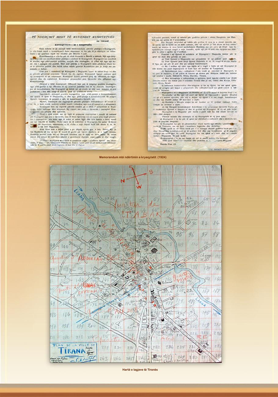 lagjet e Tiranes me shkrim dore