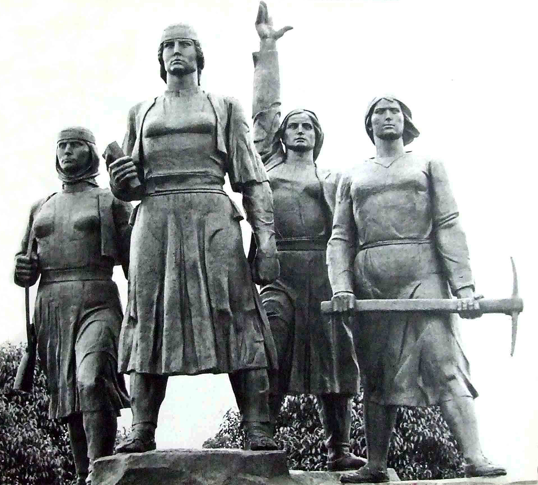 P. Culi, F. Dushku, Dh. Gogollari, A Mano, Monumenti i kater heroinave te Miredites, bronz, 1971