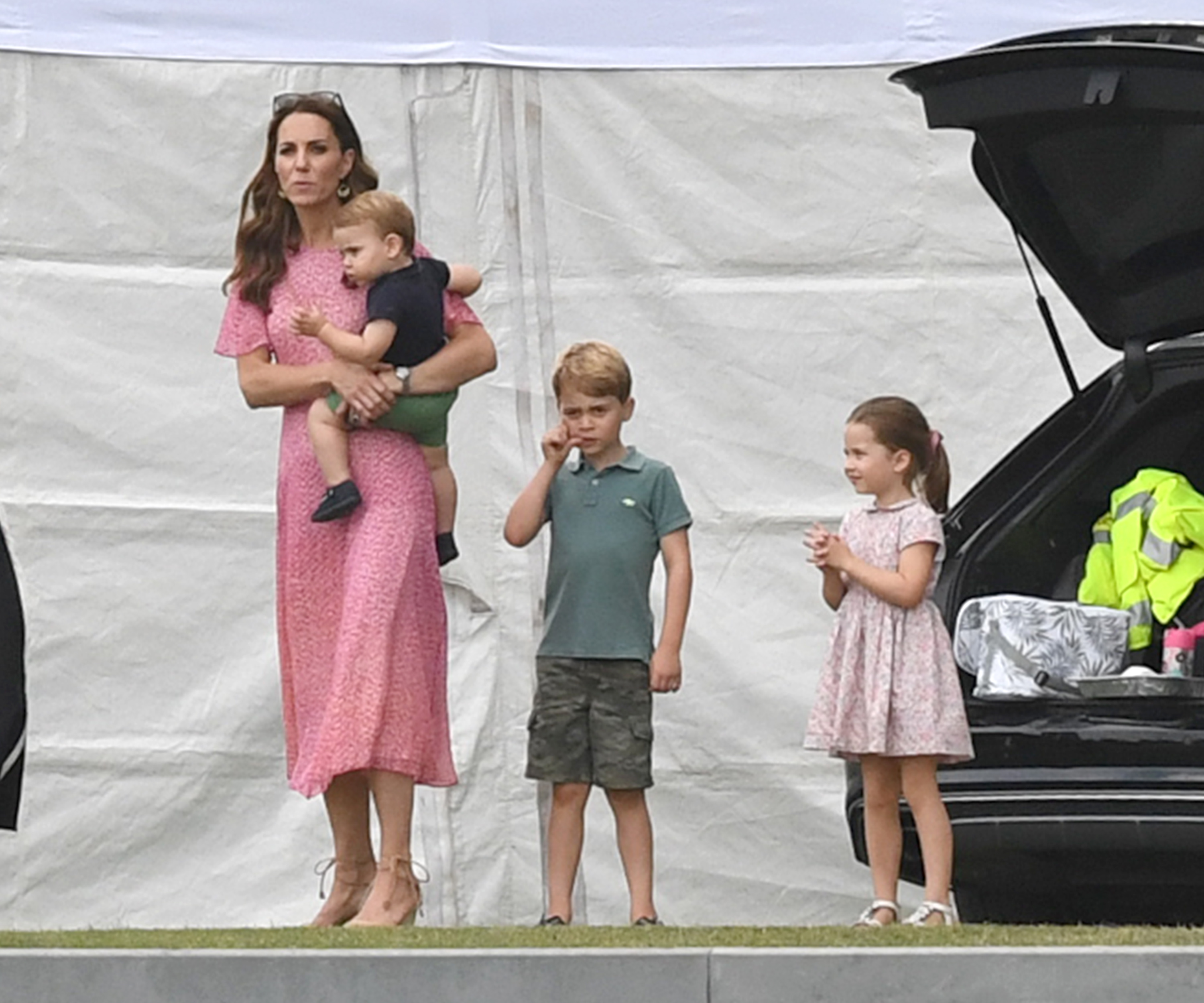 Catherine, Duchess Of Cambridge And Children Leaving The King Power Royal Charity Polo Day