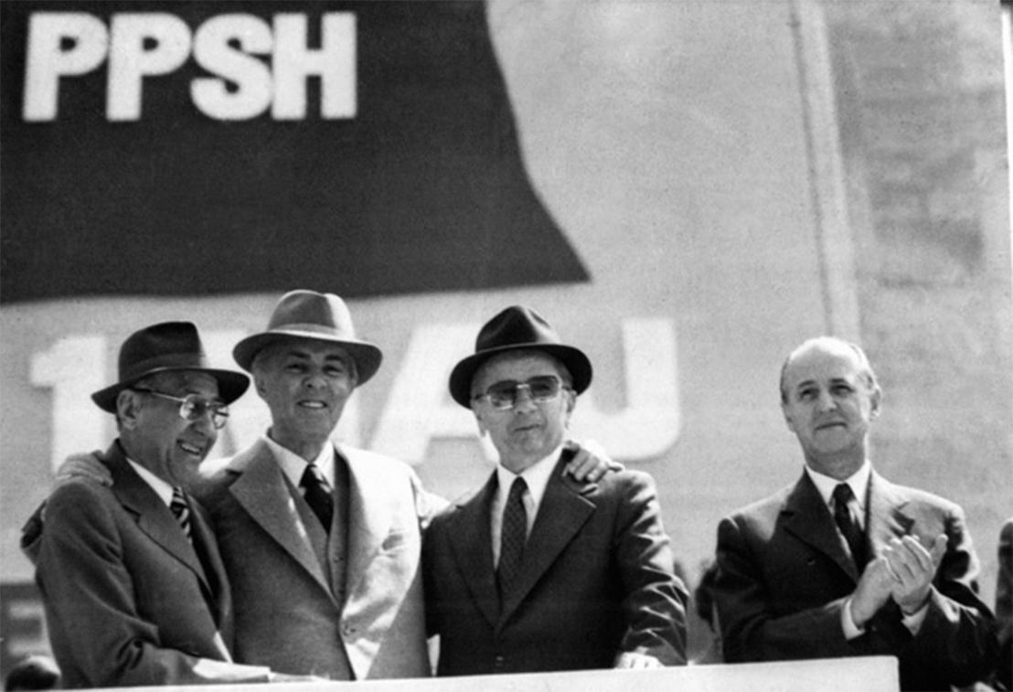 Hysni Kapo, Enver Hoxha, Mehmet Shehu and Ramiz Alia (far right).Gani Xhengo